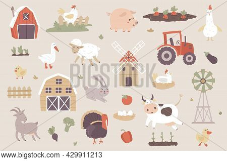 Livestock Farm Isolated Objects Set. Collection Of Pig, Cow, Sheep, Goat, Chicken, Goose, Turkey, Ra