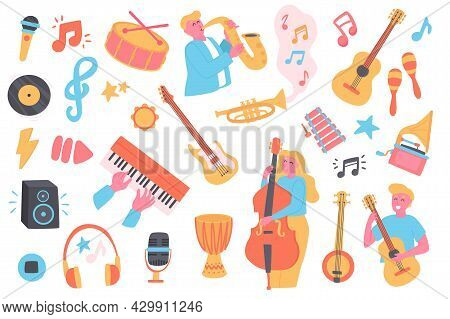 Music Festival Isolated Objects Set. Collection Of Musicians Play Saxophone, Guitar, Double Bass, Gr