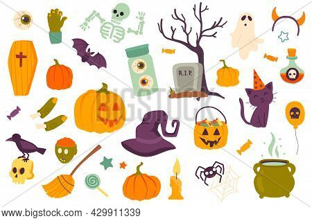 Halloween Holiday Isolated Objects Set. Collection Of Pumpkin, Cemetery, Witch Hat, Candy, Cat, Skel
