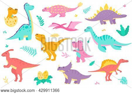 Cute Dinosaurs Isolated Objects Set. Collection Of Different Types Of Colorful Dinosaurs, Dino Baby
