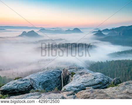 Popular Kleiner Winterberg View, Beautiful Morning View Over Sandstone Edge Into Deep Misty Valley I