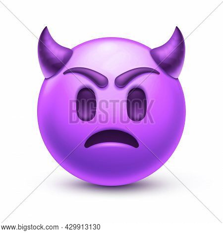 Sad Devil Emoji. Angry Emoticon With Horns, Frown Purple Face 3d Stylized Vector Icon