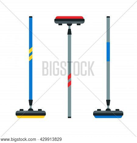 Curling Broom Set. Collection Of Brooms For Curling Game. Winter Ice Sport Equipment. Flat Vector Il