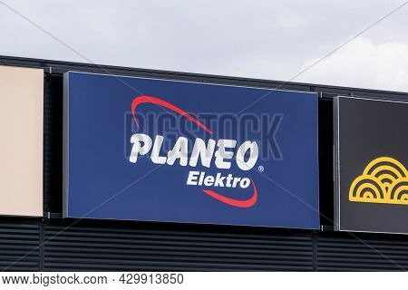 Ostrava, Czech Republic - May 3, 2021: The Banner Of Planeo Elektro Store Where The Electric Devices