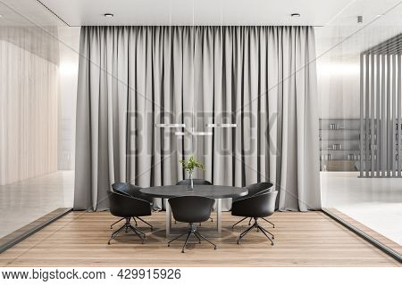 Contemporary Meeting Room Interior With Curtains. Corporate Concept. 3d Rendering