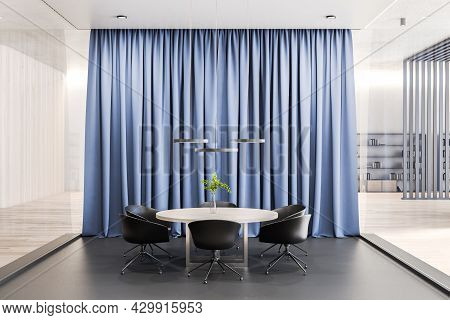 Modern Meeting Room Interior With Curtains. Corporate Concept. 3d Rendering