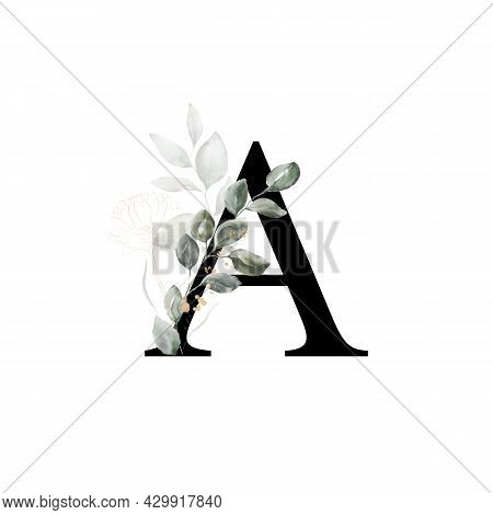 Capital Letter A Decorated With Golden Flower And Leaves. Letter Of The English Alphabet With Floral