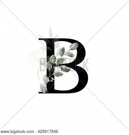 Capital Letter B Decorated With Golden Flower And Leaves. Letter Of The English Alphabet With Floral