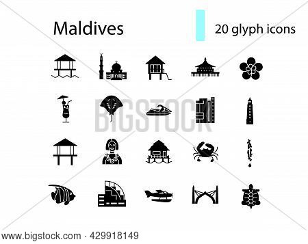 Maldives Culture Glyph Icons Set. Tourism Concept. Tropical Resort. Famous Water Bungalows. Isolated