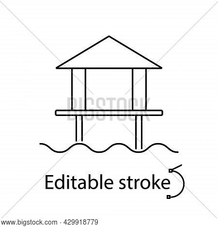 Water Bungalow Outline Icon. Maldives Attraction. Tropical Resort. Editable Stroke. Isolated Vector
