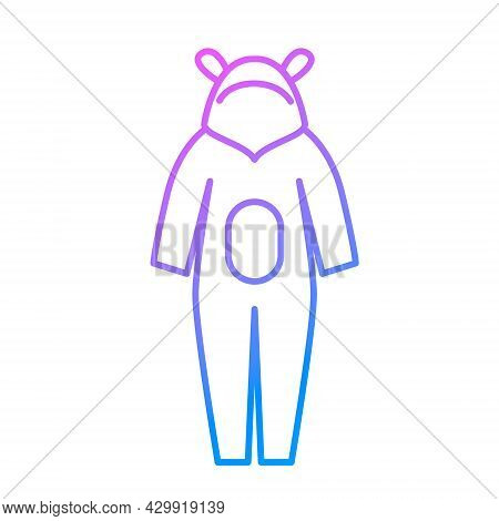 Kids Overalls Outline Icon. Homewear And Sleepwear. Purple Gradient Symbol. Isolated Vector Stock Il