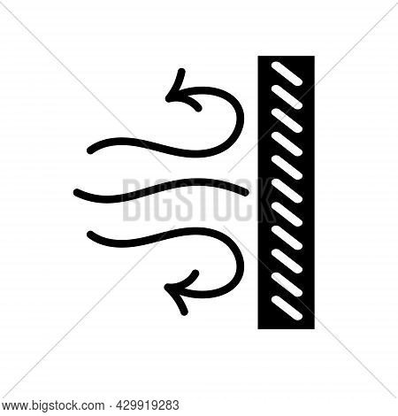 Windproof Textile Glyph Icon. Hurricane Resistant Fabric Feature. Black Symbol. Isolated Vector Stoc