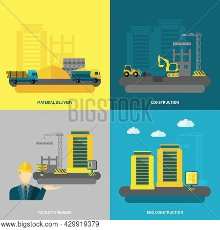 Construction Design Concept Set With Material Delivery And Facility Engineer Flat Icons Isolated Vec