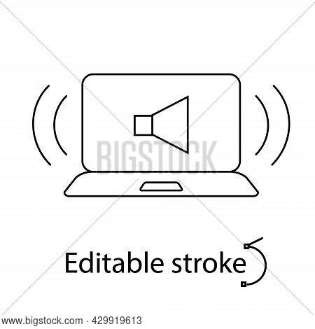 Noisy In Laptop Outline Icon. Loud Or Quiet Sound. Computer Problem. Laptop Repairs. Customizable Li