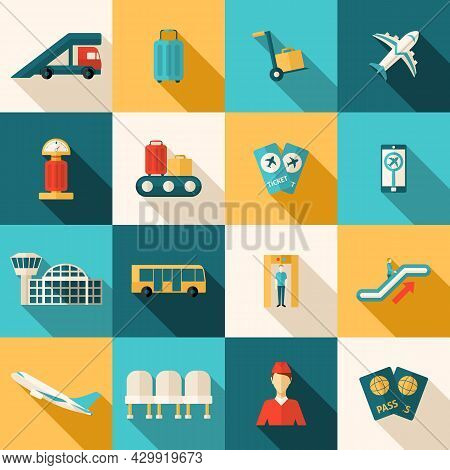 Airport Icons Flat Long Shadow Set With Arrival And Departure Symbols Isolated Vector Illustration