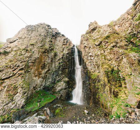 Natural Famous Landmark Gveleti Big Waterfalls In The Darial Gorge Dariali Gorge In Kazbegi District