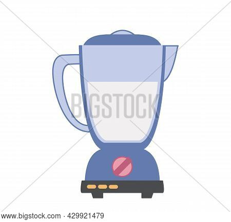 Kitchen Blender Colored Icon. Cooking Smoothies In A Submersible Mixer. Vector Illustration In Carto