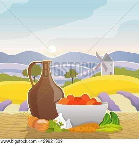 Vegetables Still Life With Rural Mediterranean Landscape On Background Flat Vector Illustration