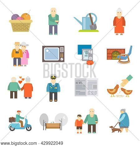 Retired Couple Of Aged Pensioners With Pets Life Style Concept Flat Icons Set Abstract Isolated Vect