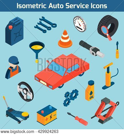 Auto Service Tools Consumables And Spare Parts Isometric Icons Set Isolated Vector Illustration