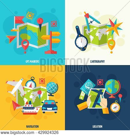 Gps Navigation Location Cartography And Geography Tools Accessories And Symbol Flat Icon Set Isolate