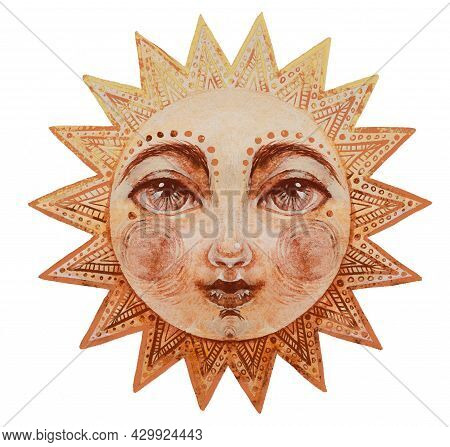 Watercolor Sun With Face, Cute Mystical Watercolor Drawing For Astrology, Boho Design. Pagan Divine