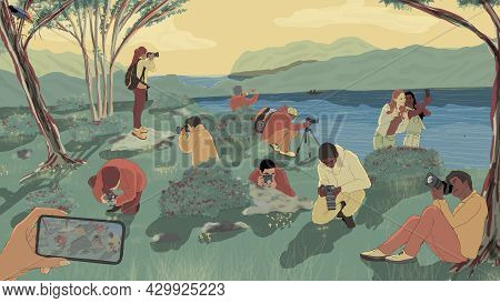 Digital Illustration Of A Group Of People During A Photographers Excursion
