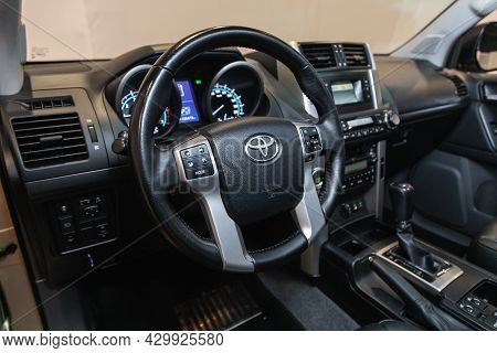 Novosibirsk, Russia - July 21, 2021: Toyota Land Cruiser Prado ,  Cockpit Interior Cabin Details, Sp