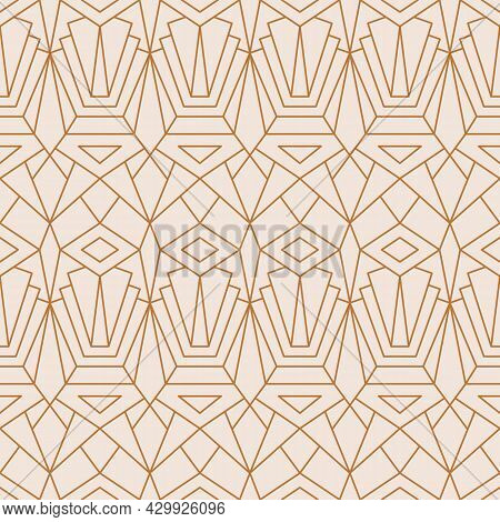Art Deco Seamless Pattern In A Trendy Minimal Linear Style. Vector Abstract Geometric Background Wit