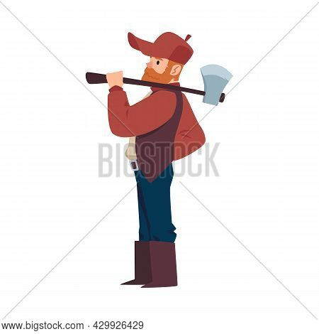 Lumberjack Or Woodcutter Cartoon Character Standing In Profile Holding Axe