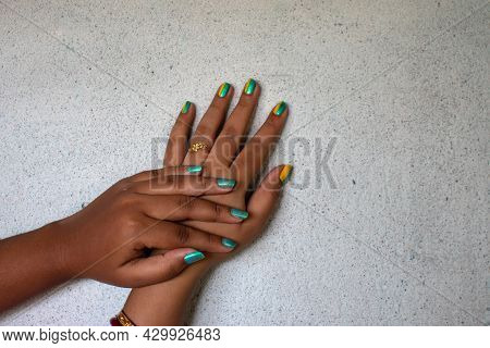 Wo Woman Hands With Wedding Ring. Concept Of Lesbian And Gay Problems And Legalization Of Marriage F