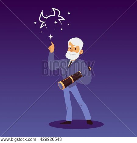 Astronomy Scientist Or Astronomer Pointing At Stars, Flat Vector Illustration.