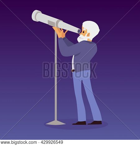Astronomy Scientist Or Astronomer Looking Through Telescope Flat Vector Isolated.