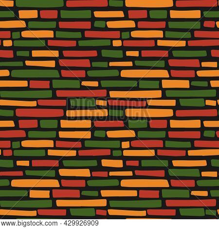 Abstract Kwanzaa, Black History Month, Juneteenth Seamless Pattern With Hand Drawn Horizontal Lines,
