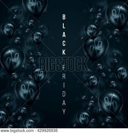 White Inscription Black Friday On A Black Background, Percent. Clearance Sale Flyer Magazine Style M