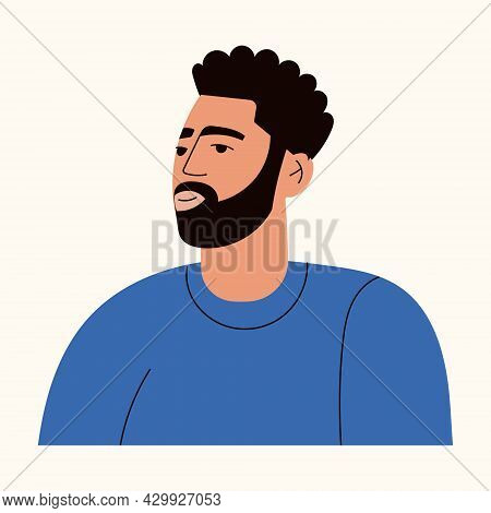 Portrait Of Arab Man With Beard Wearing Casual T Shirt. Avatar Of A Turkish Guy For Social Network.