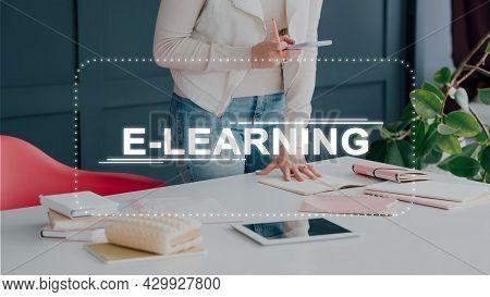 E-learning Project. Distance Education. Digital Training. Business Webinar. Unrecognizable Female Co