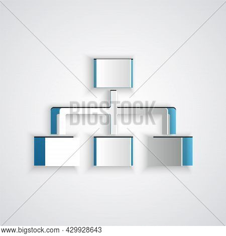 Paper Cut Business Hierarchy Organogram Chart Infographics Icon Isolated On Grey Background. Corpora