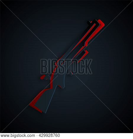 Paper Cut Shotgun Icon Isolated On Black Background. Hunting Gun. Paper Art Style. Vector