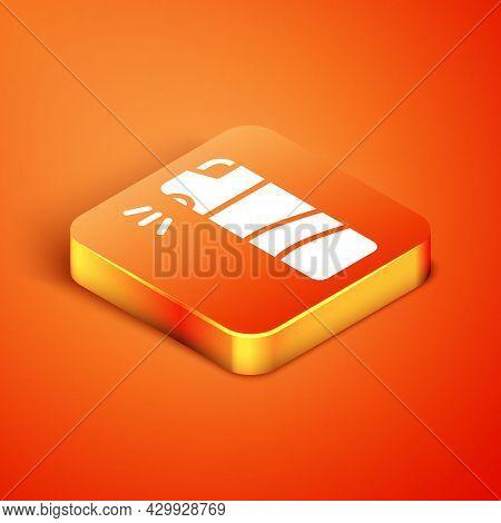 Isometric Pepper Spray Icon Isolated On Orange Background. Oc Gas. Capsicum Self Defense Aerosol. Ve