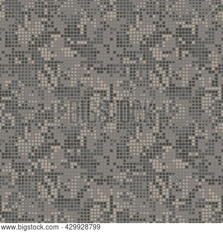 Digital Gray Brown Camouflage, Seamless Pattern For Your Design. Clothing Military Style. Pixel Dott
