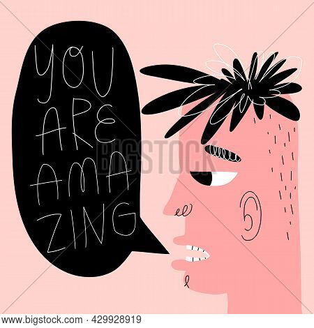 Young Man, Teenager Speak You Are Amazing. Guy With Speech Bubble, Lettering. Valentines Day Greetin