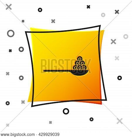 Black Caviar On A Spoon Icon Isolated On White Background. Yellow Square Button. Vector.