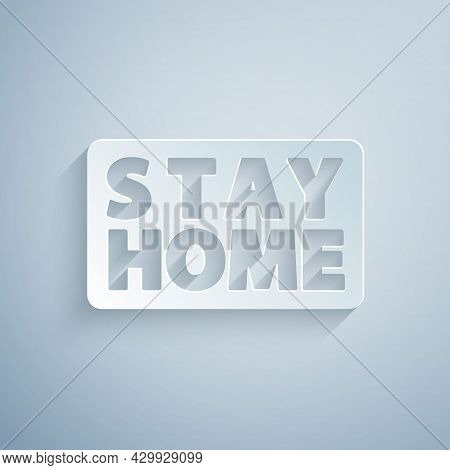 Paper Cut Stay Home Icon Isolated On Grey Background. Corona Virus 2019-ncov. Paper Art Style. Vecto