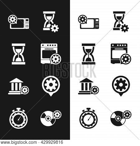 Set Oven Setting, Old Hourglass With Sand, Microwave Oven, Hourglass, Bank Building And Setting Icon