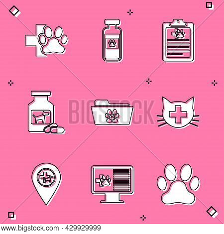 Set Veterinary Clinic, Pets Vial Medical, Clinical Record Pet, Dog Medicine Bottle And Pills, Medica