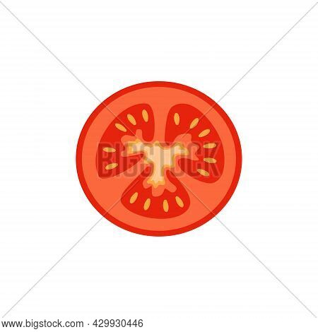 Tomato Sliced Into Circles. Red Vegetable Slices, Harvest For Making Tomato Paste Or Salad. Food Pro