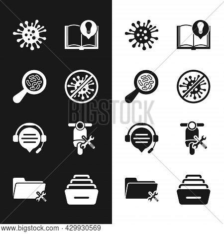 Set Stop Virus, Bacteria, Microorganisms Under Magnifier, Bacteria, Interesting Facts, Headphones Wi