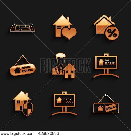 Set Realtor, Hanging Sign With Open House, Sold, For Sale, House Under Protection, Percant And Plan