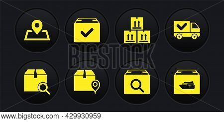 Set Search Package, Delivery Truck With Check Mark, Location Cardboard Box, Cardboard Traffic, Packa